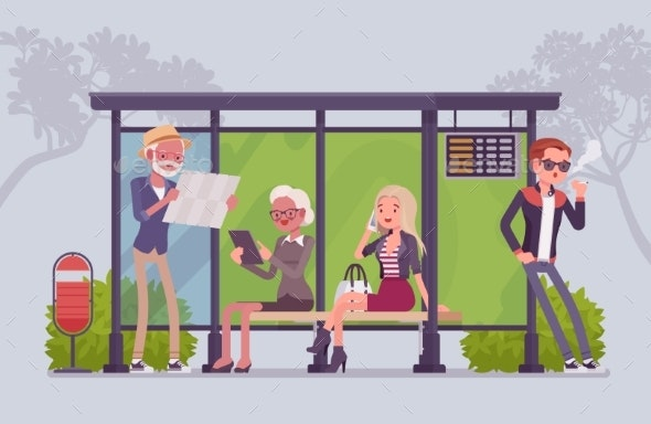 City Bus Stop People - People Characters