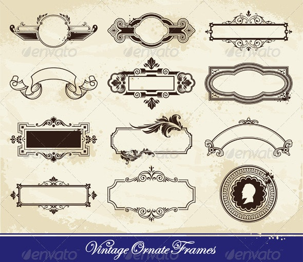 Vector set of vintage frames - Decorative Vectors
