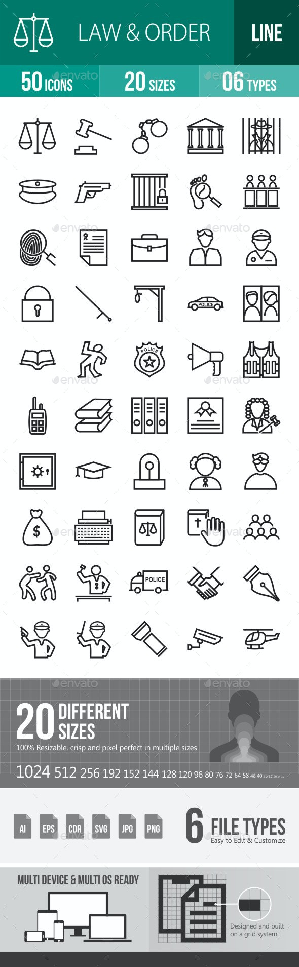 Law & Order Line Icons - Icons