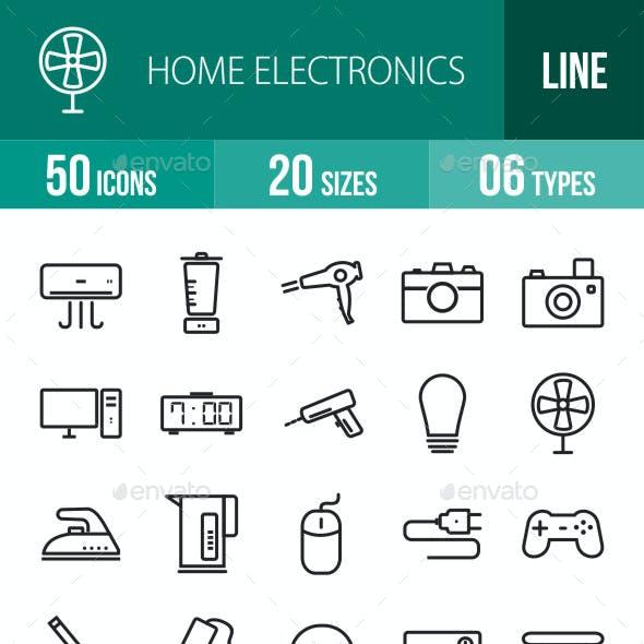 Home Electronics Line Icons