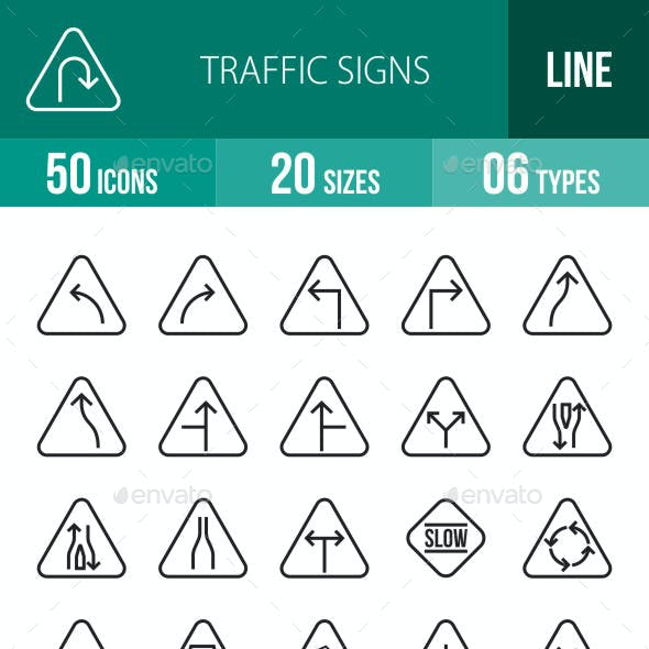 Traffic Signs Line Icons