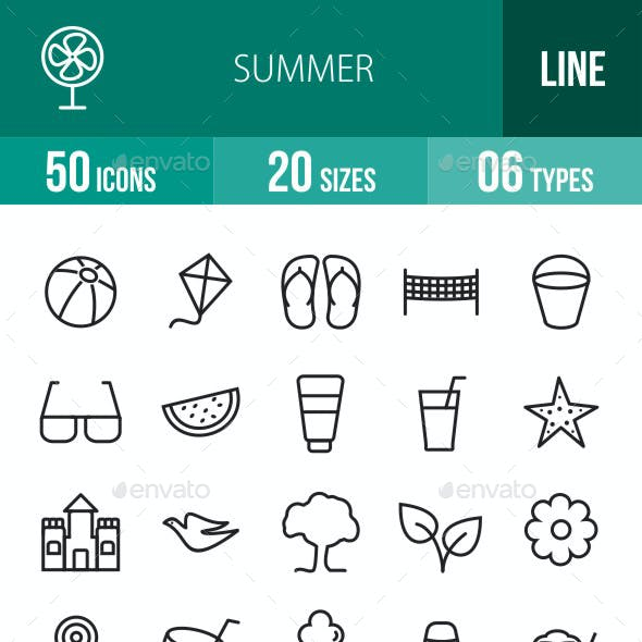 Summer Line Icons