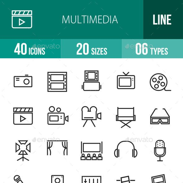 Multimedia Line Icons