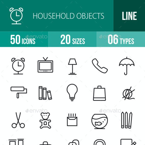 Household Objects Line Icons