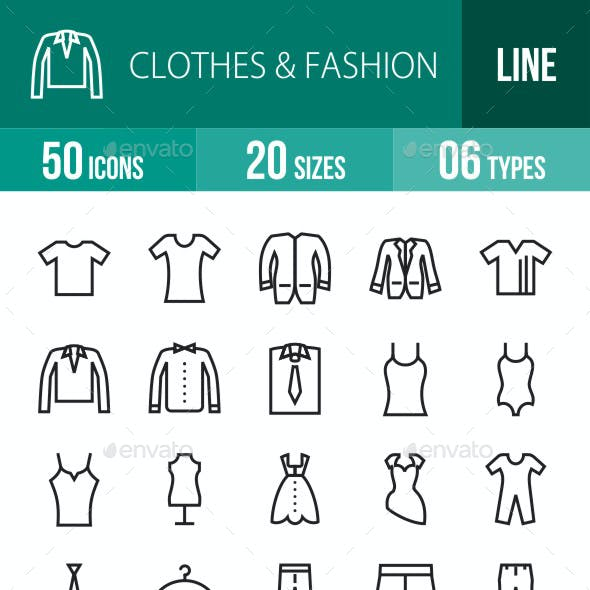 Clothes & Fashion Line Icons