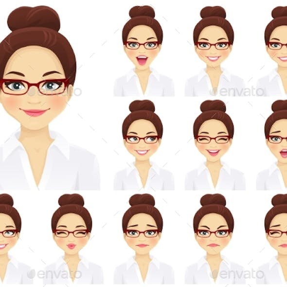 Business Woman Expressions Set