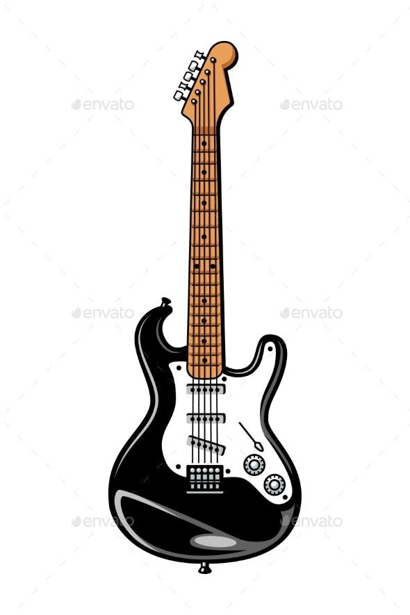 Vintage Colorful Electric Guitar Template - Miscellaneous Vectors
