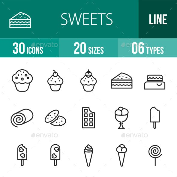 Sweets Line Icons