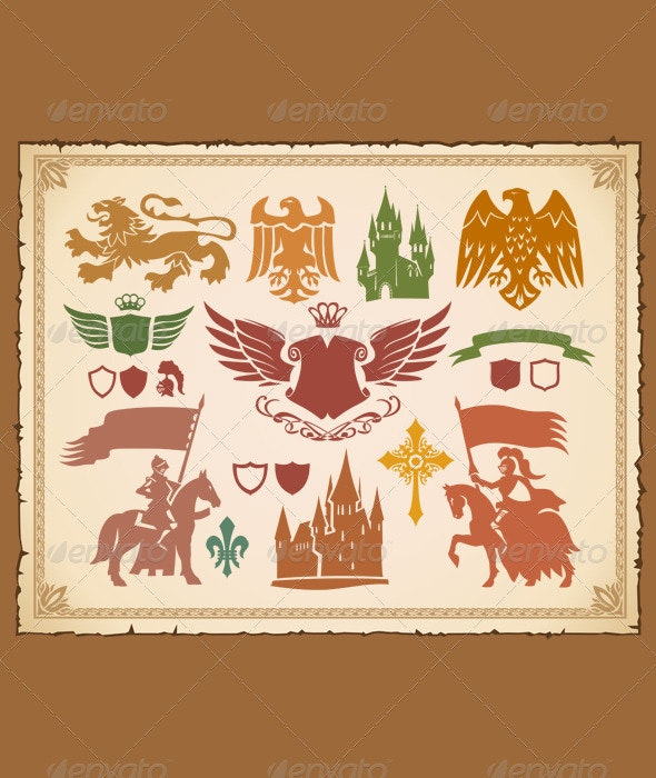 Heraldic set with lions, knights and eagles - Decorative Symbols Decorative