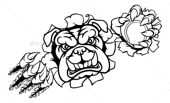 Bulldog Tennis Sports Mascot - Animals Characters