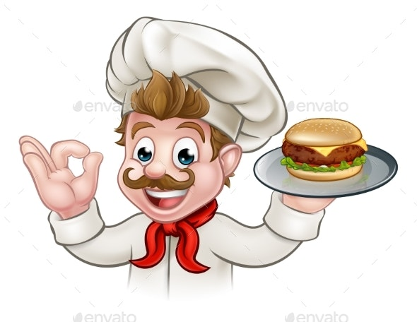 Cartoon Character Chef Holding Burger - Food Objects