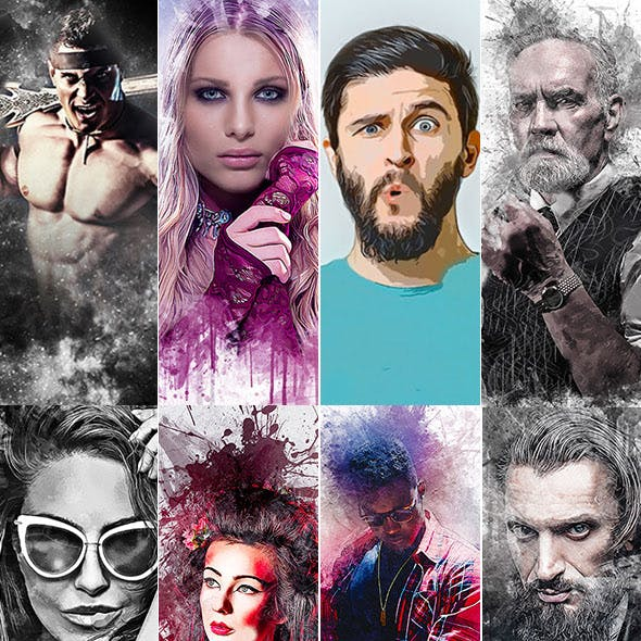Mixed 8 in 1 Photoshop Action Bundle