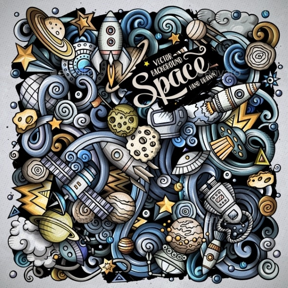 Cartoon Vector Doodles Space Illustration - Backgrounds Decorative