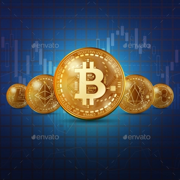 Cryptocurrency Golden Coins Background - Backgrounds Business