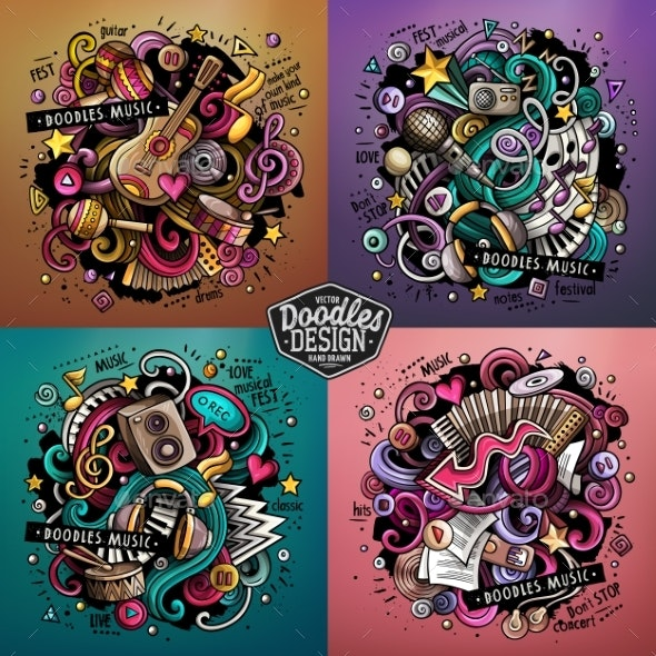 Music Cartoon Vector Doodle Illustration - Media Technology