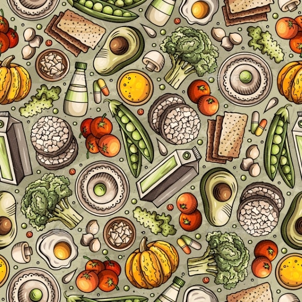 Cartoon Hand-Drawn Diet Food Seamless Pattern - Food Objects