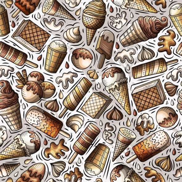 Cartoon Hand-Drawn Ice Cream Doodles Seamless - Food Objects