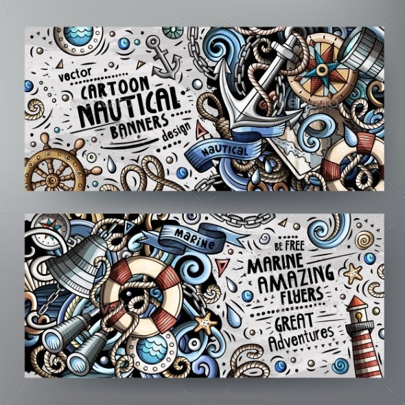 Cartoon Vector Doodles Nautical Banners