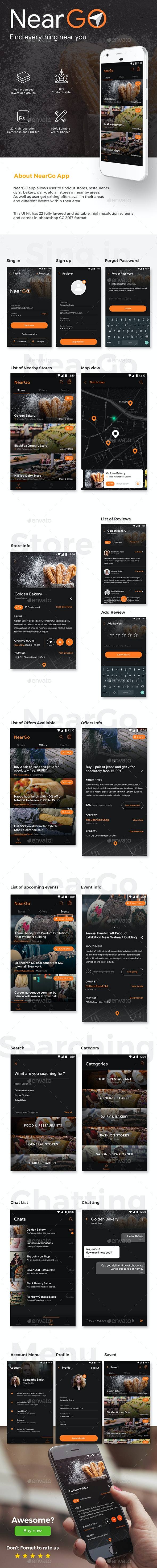 Near by Store Searching App UI Kit | NearGo - User Interfaces Web Elements