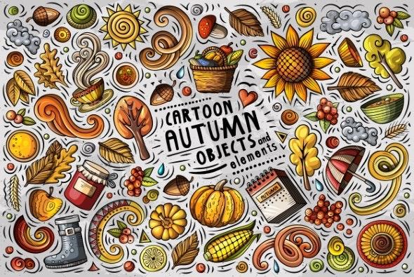 Vector Doodle Cartoon Set of Autumn Items - Backgrounds Decorative
