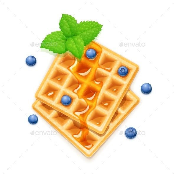 Belgian Waffle with Blueberries Honey and Peppermint - Food Objects