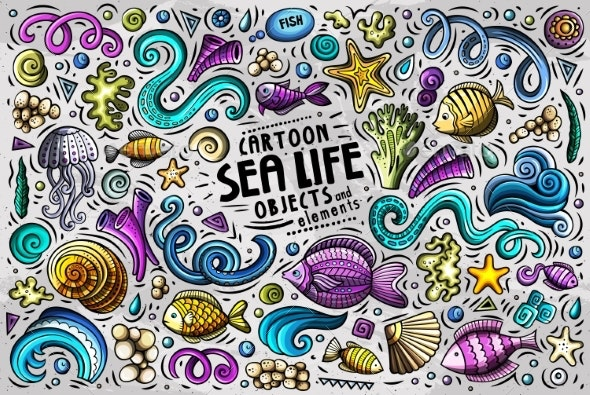 Doodle Cartoon Set of Sea Life Objects and Symbols - Animals Characters
