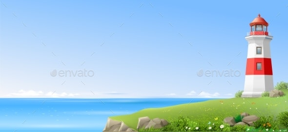 Lighthouse on a Green Hill Above the Sea - Landscapes Nature