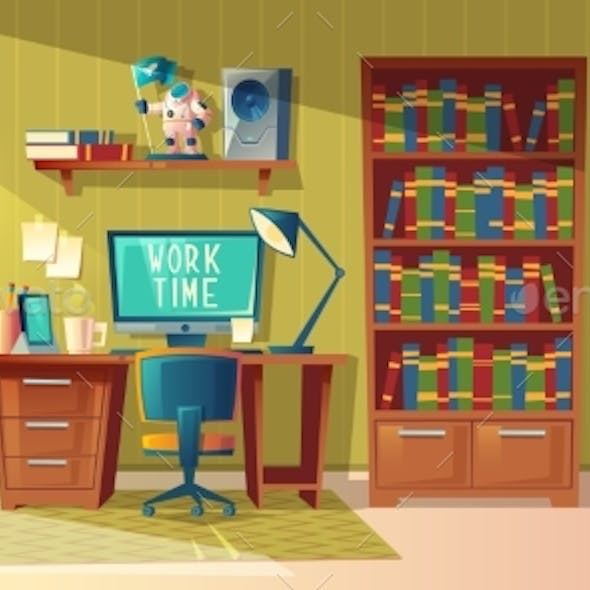 Vector Empty Home Office for Freelance Job