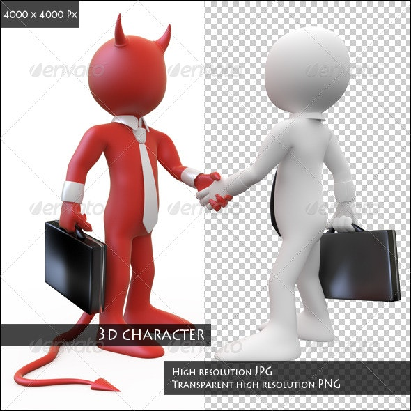 Devil Closing a Deal with a Businessman - 3D Renders Graphics