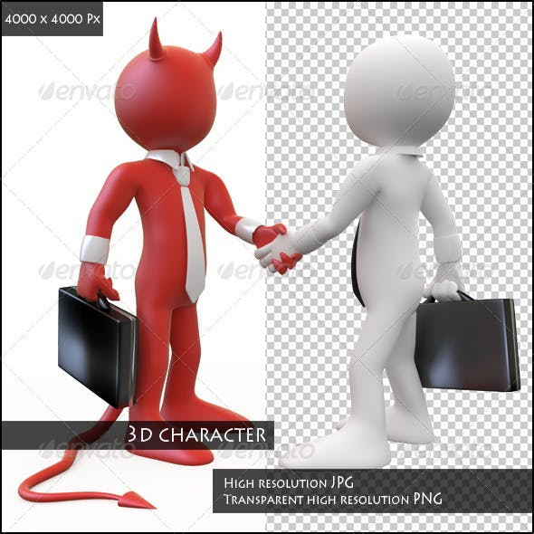 Devil Closing a Deal with a Businessman