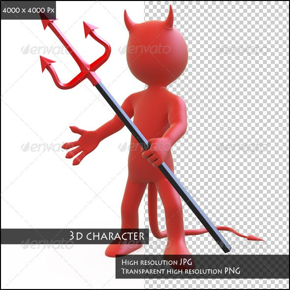 Devil Posing Threatening with his Trident