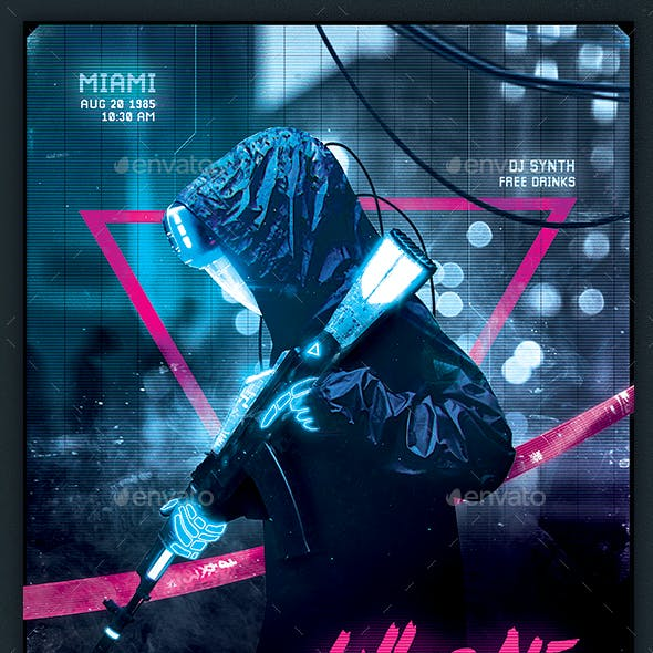 Synthwave Flyer v6 Cyberpunk Neon Retrowave Poster Template