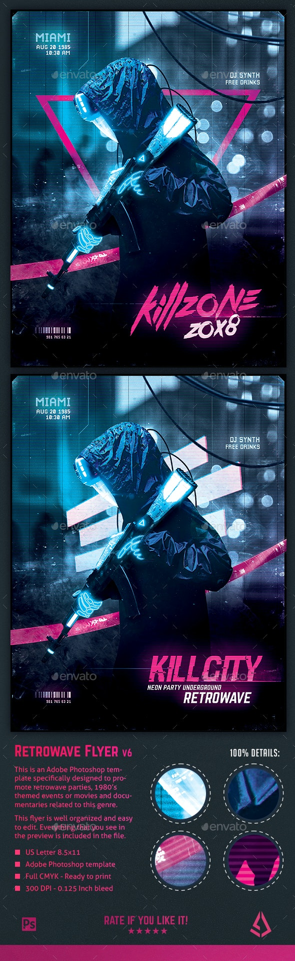 Synthwave Flyer v6 Cyberpunk Neon Retrowave Poster Template
