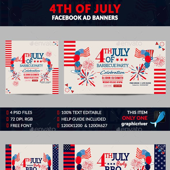 July BBQ Facebook Ad Banner-4 Design- Image Included