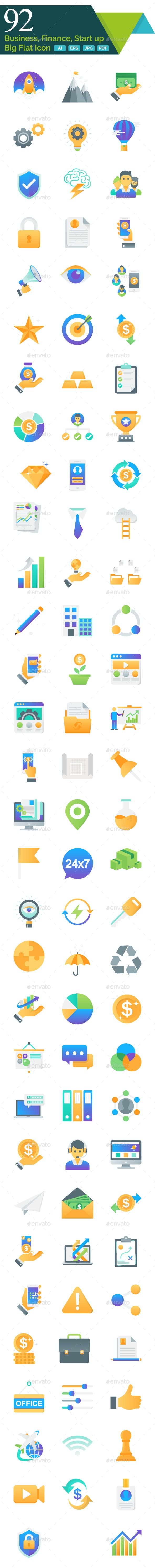 Business, Finance and Start up Big Flat Icon - Business Icons