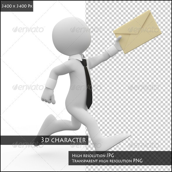 Businessman Running with a Letter in his Hand - 3D Renders Graphics