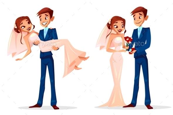 Couple Wedding Bride and Bridegroom Vector - Weddings Seasons/Holidays