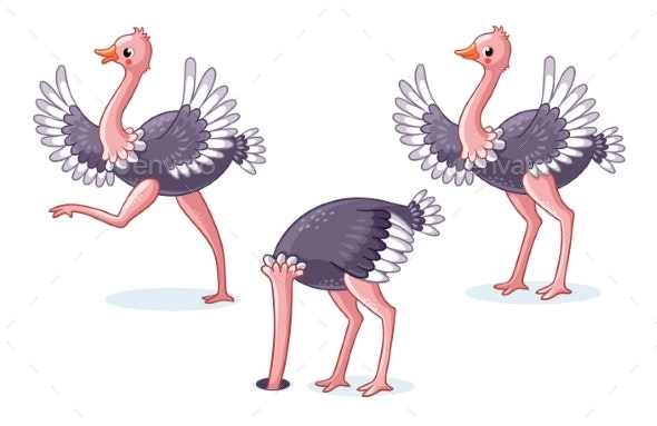 Set of Ostriches in Different Poses - Animals Characters