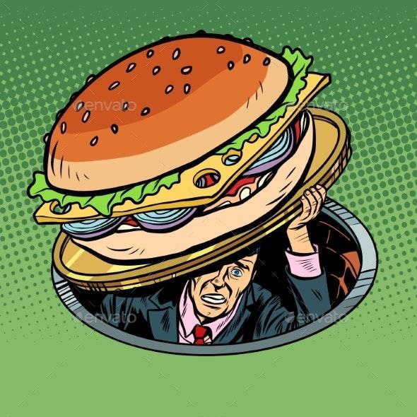 Man Under Fast Food Burger - Food Objects