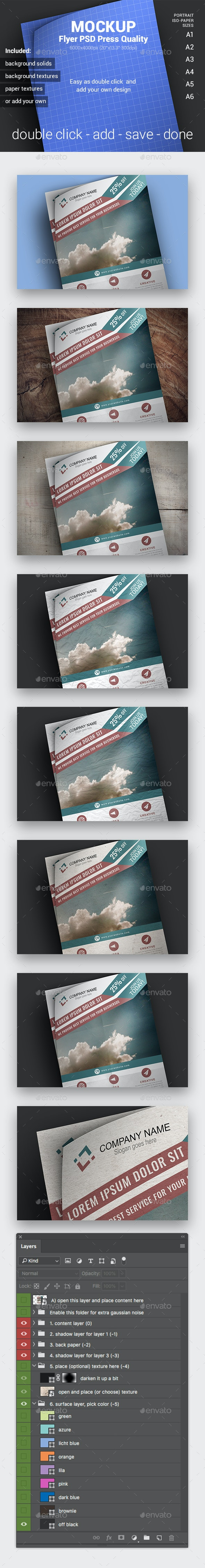 A4 Portrait Mockup PSD (ISO Paper-Sized, Press Quality) - Posters Print