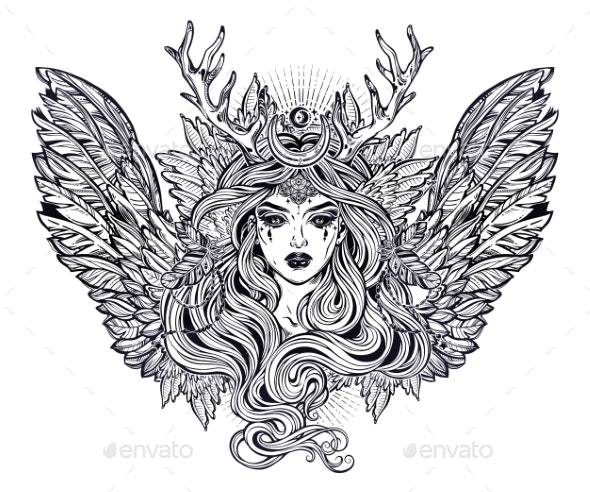 Demonic Winged Angel Magic Woman with Deer - Monsters Characters