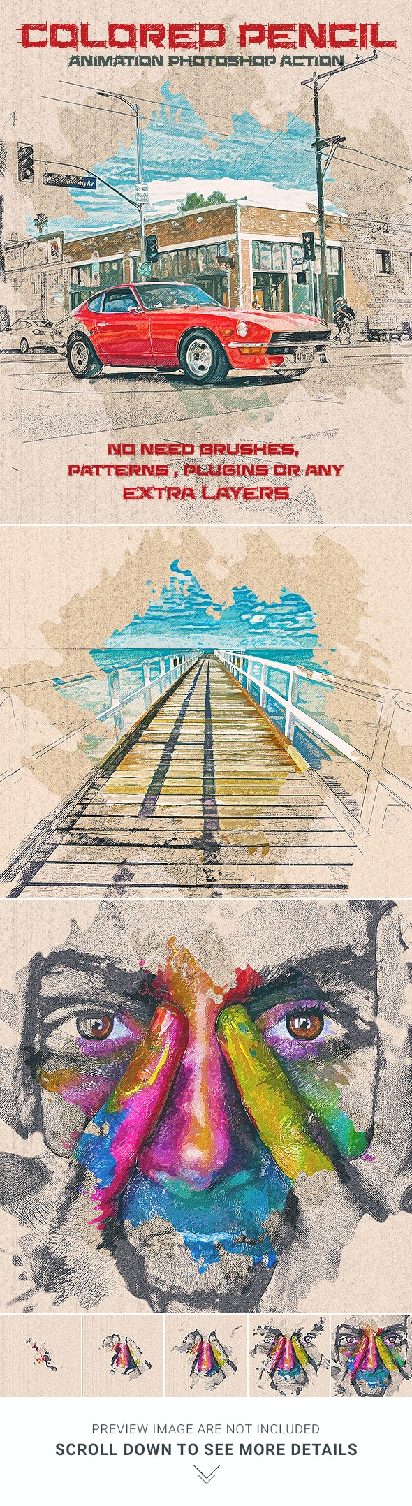Colored Pencil Animation Photoshop Action - Photo Effects Actions