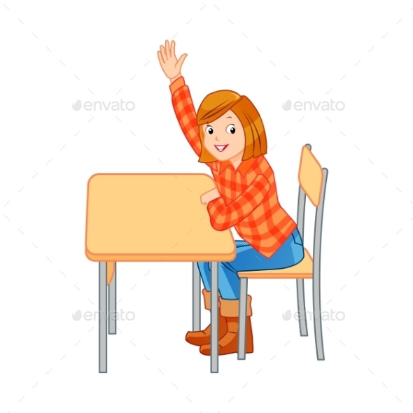 Student Raises Hand - Miscellaneous Vectors