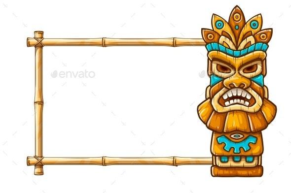 Tiki Traditional Hawaiian Tribal Mask - Borders Decorative
