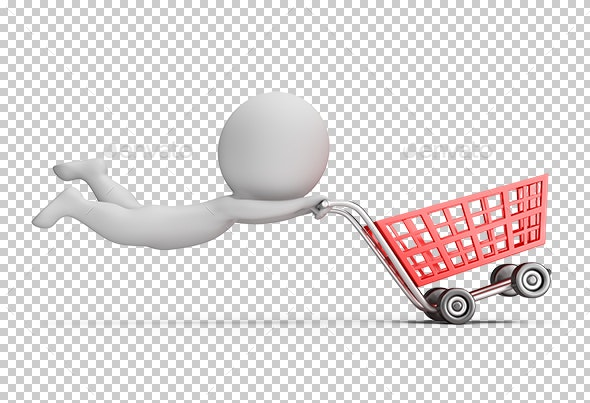 3D Small People - Fast Shopping Cart - Characters 3D Renders