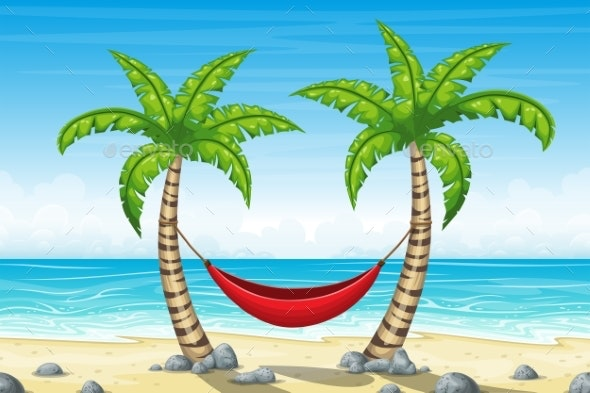 Tropical Beach Landscape with Hammock - Landscapes Nature