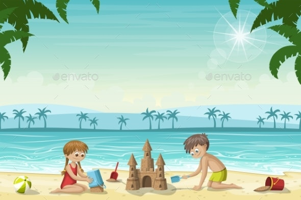 Two Kids Build a Sandcastle - People Characters