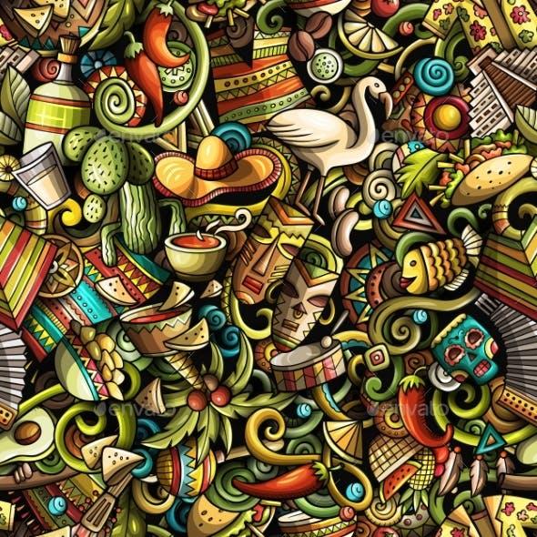 Cartoon Doodles Latin America Seamless