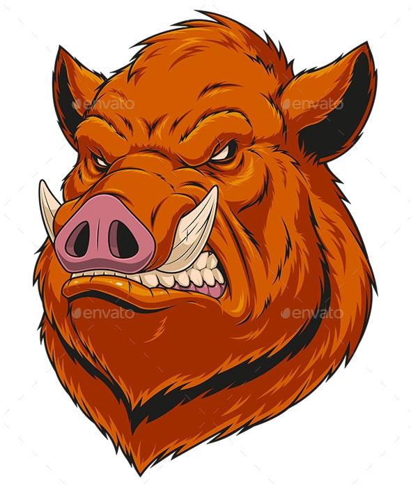 Head Ferocious Boar - Animals Characters