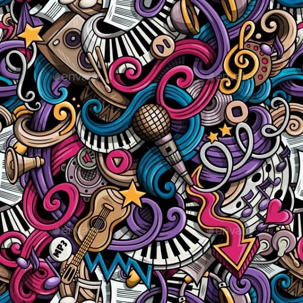Cartoon Hand Drawn Doodles Music Seamless Pattern - Media Technology